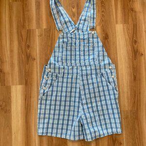 Women's Blue Plaid Overalls Shorts Size 18